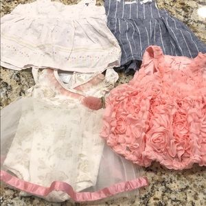 4 Gently used and NWT baby girl dresses